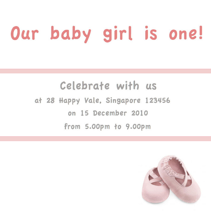 Baby Girl Birthday Invite Little Shoes Joy To Thee